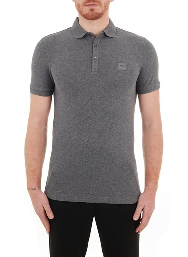 Hugo Boss  Slim Fit Pamuklu Düğmeli Polo T Shirt Erkek Polo 50378334 021 Gri